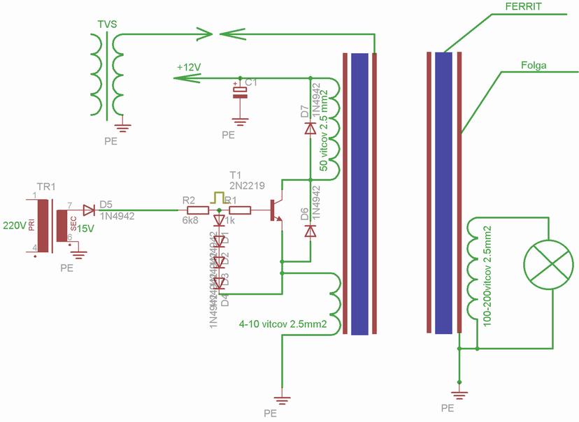 Схема от Динатрона по Тигру, там указано кол-во витков.  Транзисторы кт 829 заменяются полевиком BUZ90...